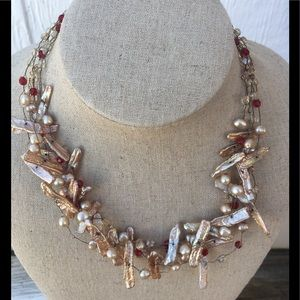 Jewelry - Pearl bead, ruby red glass & golden wire necklace